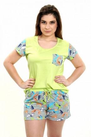 pijama feminino dinossauros coloridos curto