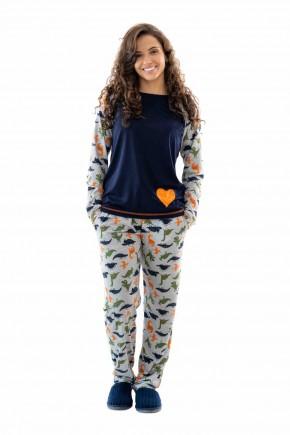 pijama feminino dinossauro adulto de malha longo mania pijamas
