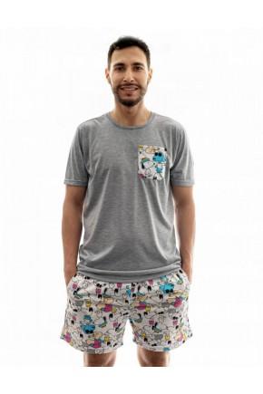 pijama masculino snoopy adulto curto com shorts samba cancao 1