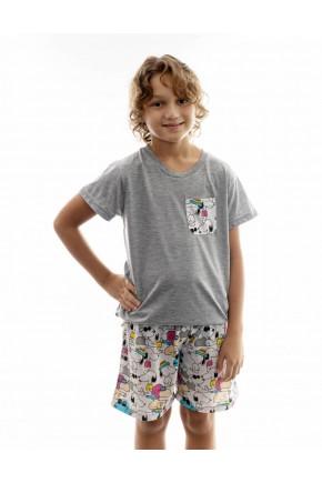 pijama infantil masculino snoopy curto 1
