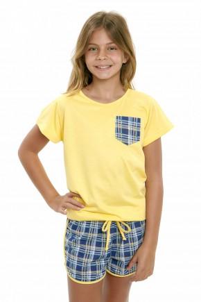 pijama infantil feminino curto xadrez amarelo com azul 4