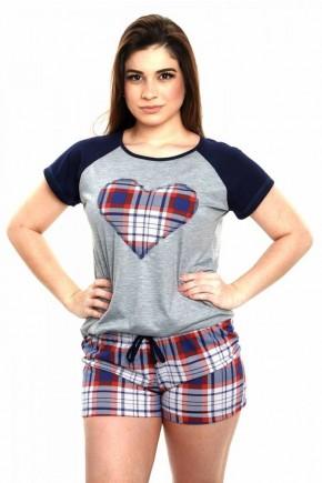 pijama feminino curto xadrez de malha 5