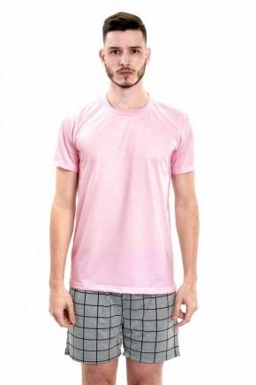pijama masculino curto camiseta rosa com bermuda xadrez 6