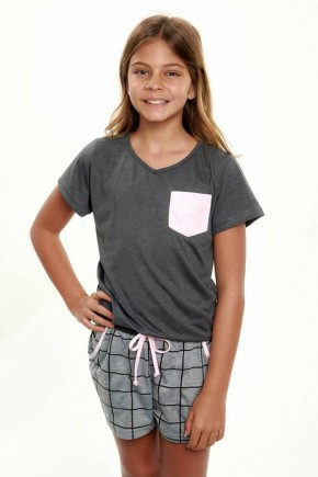 pijama infantil feminino xadrez mescla curto 4