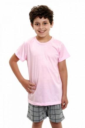 pijama infantil masculino curto camiseta rosa com shorts xadrez 4