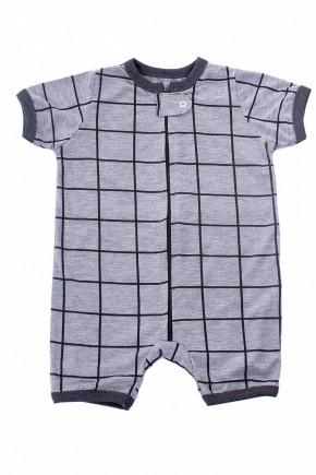 pijama macacao para bebe curto xadrez mescla