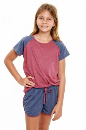 pijama infantil feminino de malha mescla curto 4