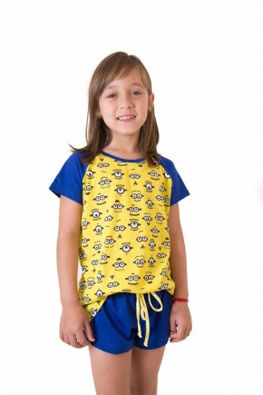 pijama feminino infantil curto com shorts carinhas 4