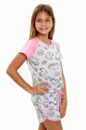 pijama de unicornio infantil menina manga curta 2