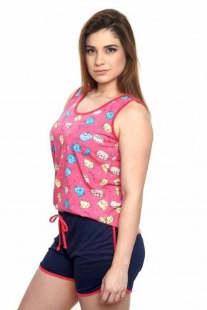 pijama feminino gatinhos pink regata curto 2