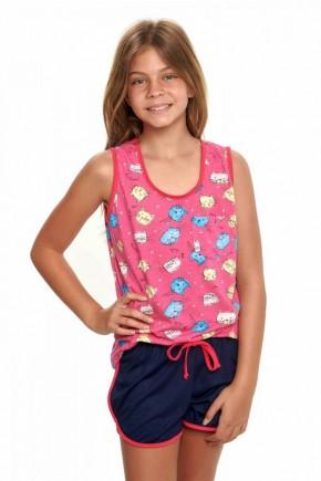 pijama de gatinhos pink regata infantil feminino curto 4