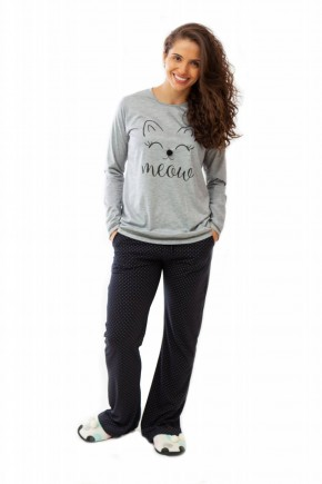 pijama de gatinho feminino longo com calca flare 5