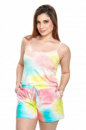 pijama tie dye feminino estampado de alcinha com shorts mania pijamas 4