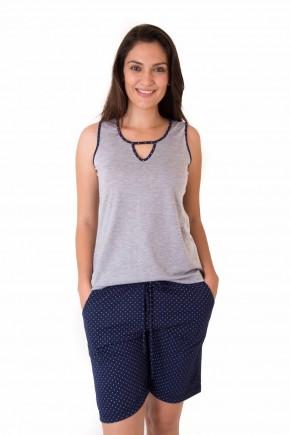pijama feminino com bermuda poa fashion 3