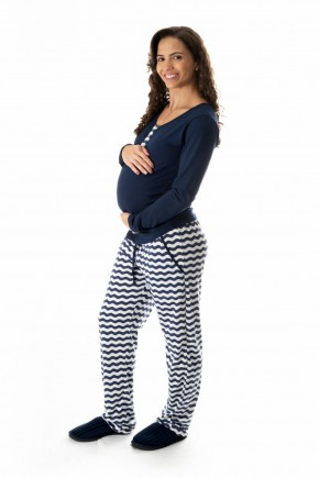 pijama de gestante e amamentacao longo listrado 2