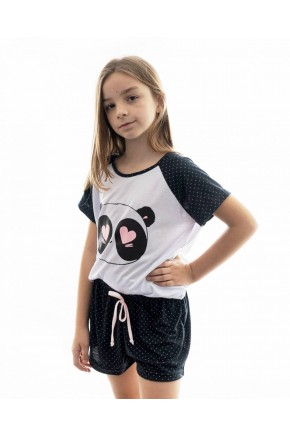 pijama de panda infantil feminino curto com shorts 2