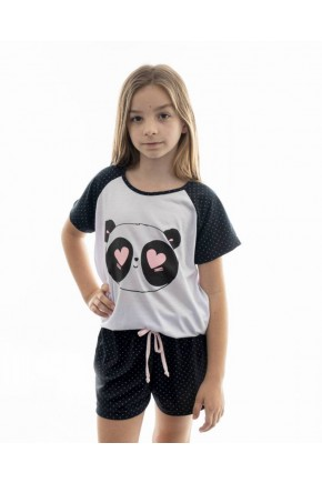 pijama de panda infantil feminino curto com shorts 4